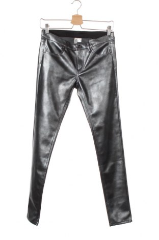 Дамски кожен панталон H&M Divided, Размер S, Цвят Сив, Еко кожа, Цена 7,90лв.