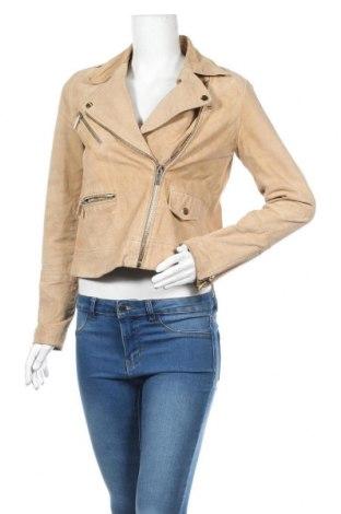 Дамско кожено яке Mango, Размер S, Цвят Бежов, Естествена кожа, Цена 25,73лв.