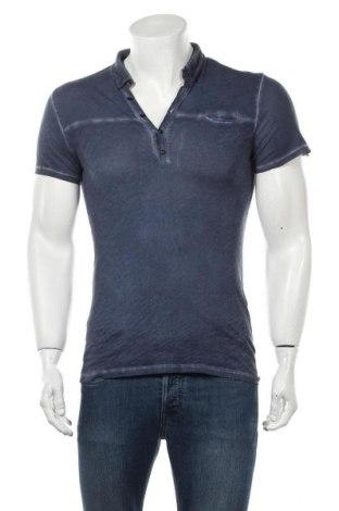 Мъжка тениска IKKS, Размер S, Цвят Син, Памук, Цена 13,65лв.