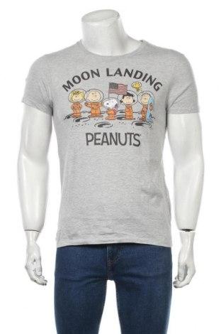 Мъжка тениска Peanuts, Размер S, Цвят Сив, 93% памук, 7% полиестер, Цена 13,00лв.