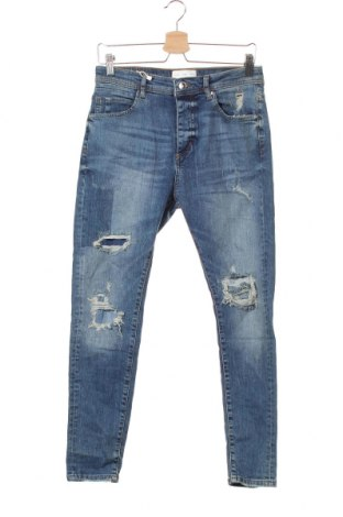 Мъжки дънки Zara Man, Размер S, Цвят Син, 99% памук, 1% еластан, Цена 49,56лв.