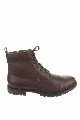 Ανδρικά παπούτσια Pull&Bear, Μέγεθος 44, Χρώμα Καφέ, Δερματίνη, Τιμή 15,60€