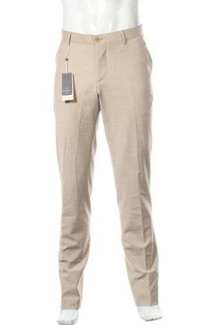 Мъжки панталон Bertoni, Размер L, Цвят Бежов, 53% полиестер, 43% вълна, 4% еластан, Цена 36,57лв.