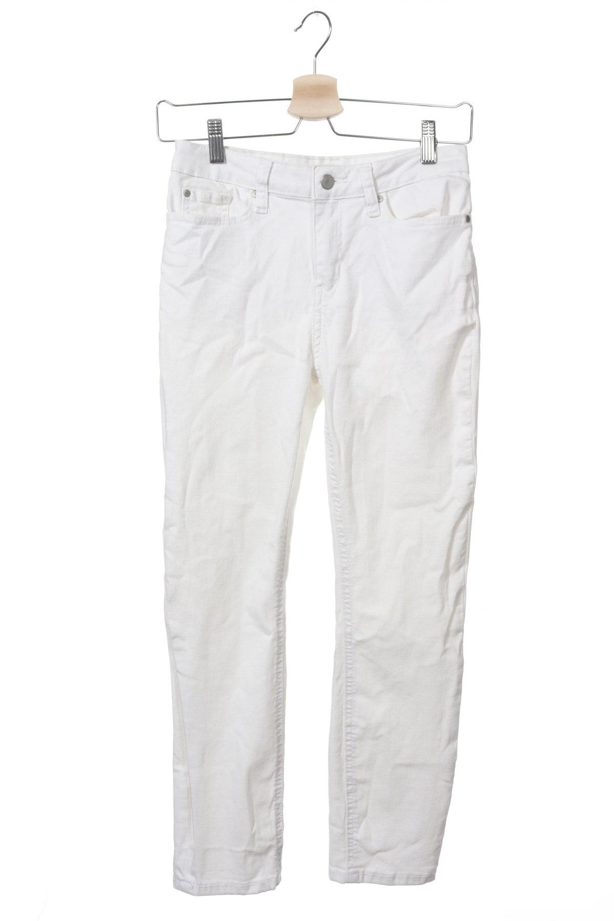Дамски дънки, Размер XS, Цвят Бял, 65% памук, 29% полиестер, 3% вискоза, 3% еластан, Цена 11,82лв.