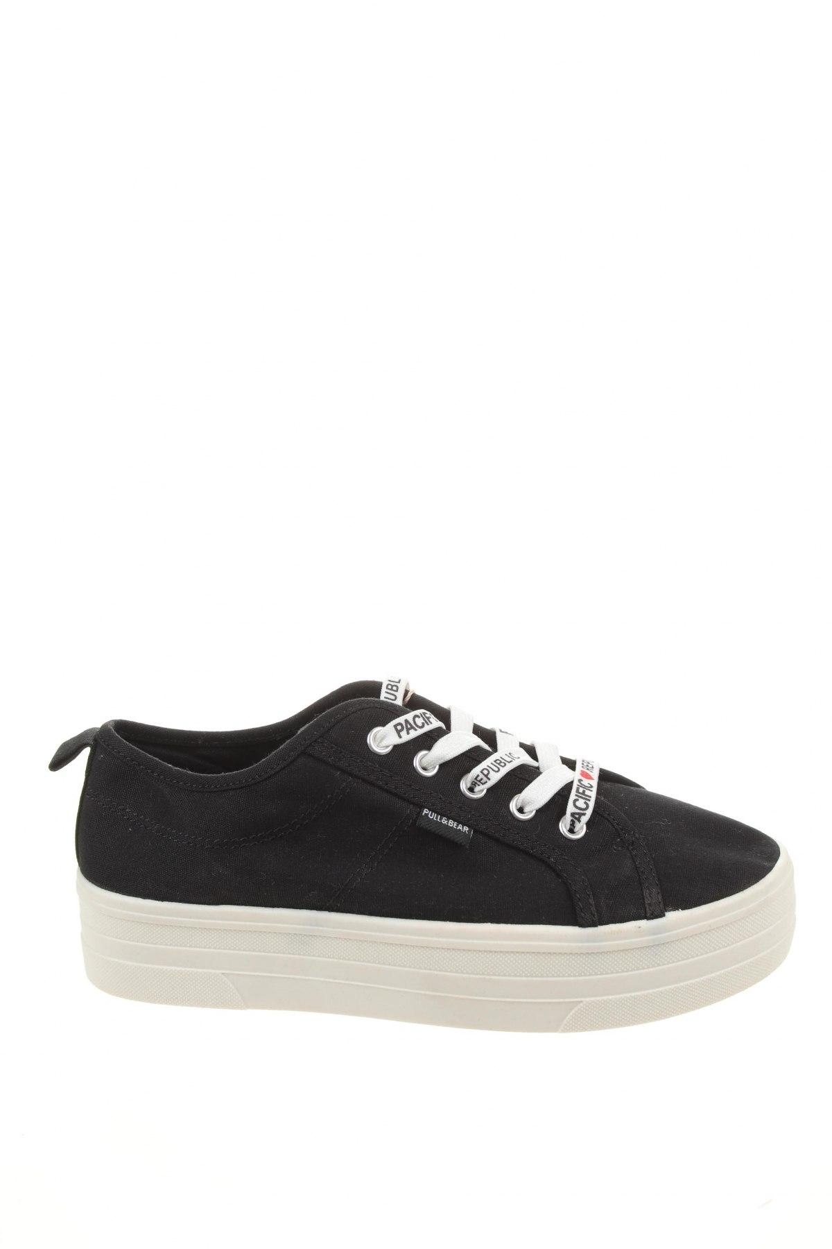 Γυναικεία παπούτσια Pull&Bear, Μέγεθος 37, Χρώμα Μαύρο, Κλωστοϋφαντουργικά προϊόντα, Τιμή 14,47€