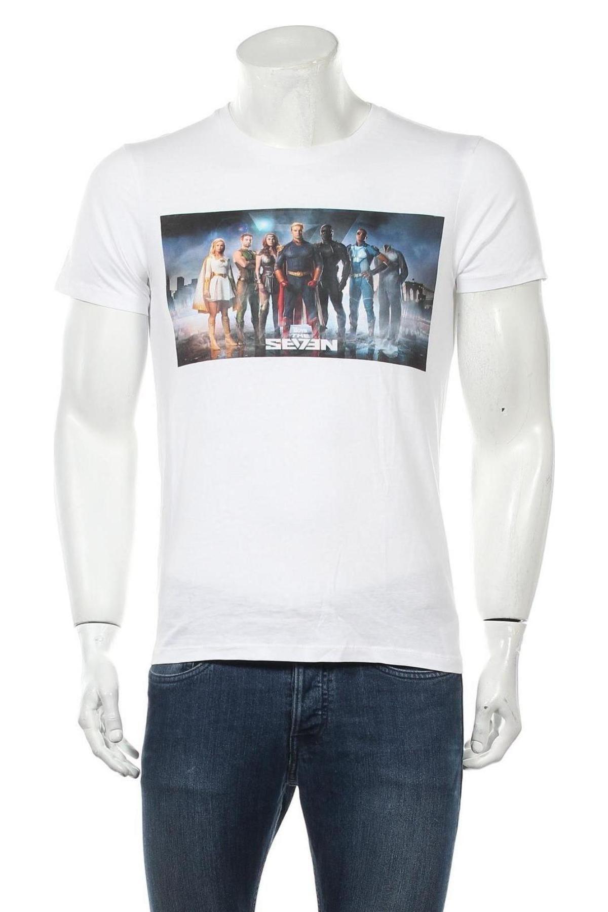 Мъжка тениска, Размер S, Цвят Бял, Памук, Цена 12,00лв.