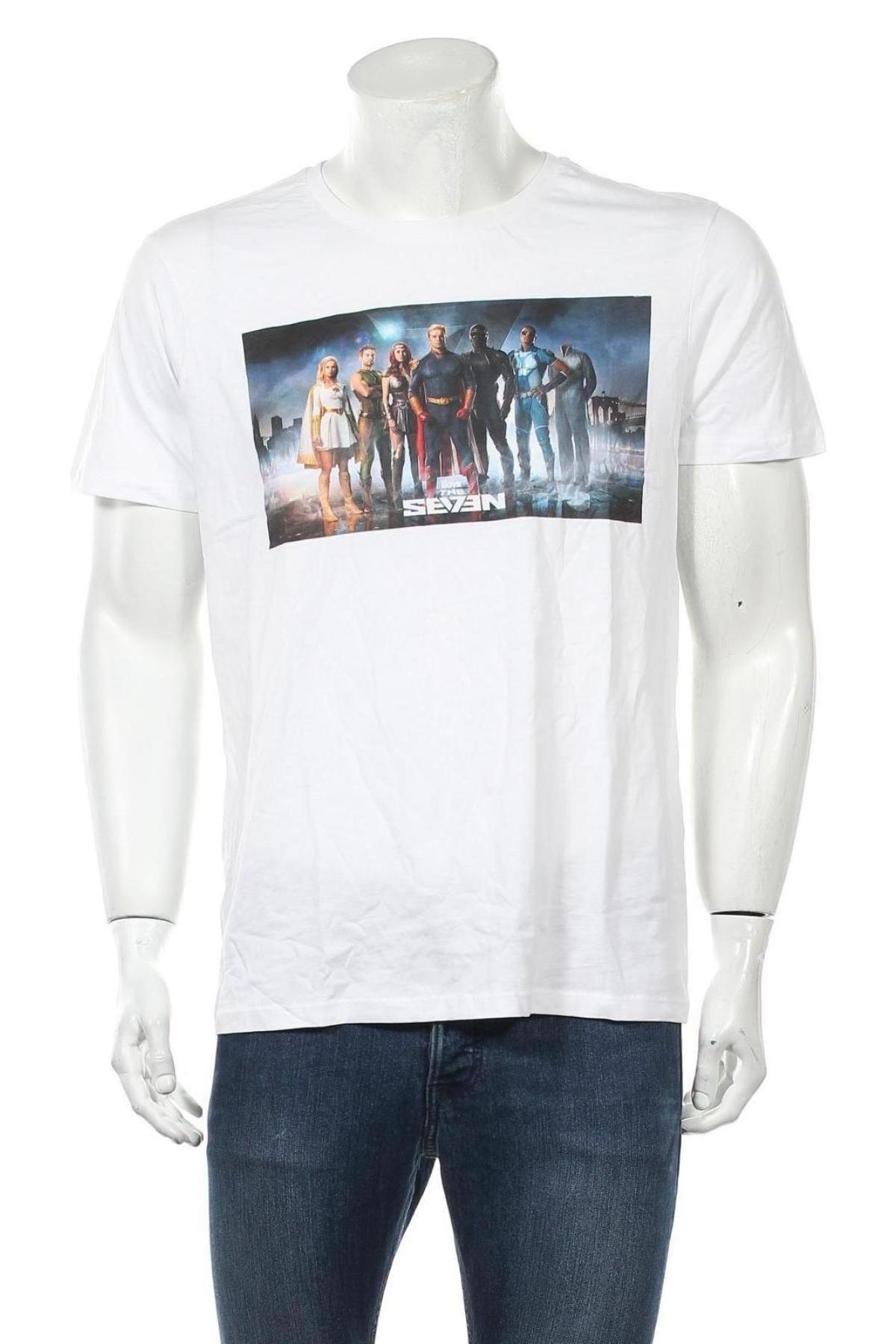 Мъжка тениска, Размер L, Цвят Бял, Памук, Цена 12,00лв.