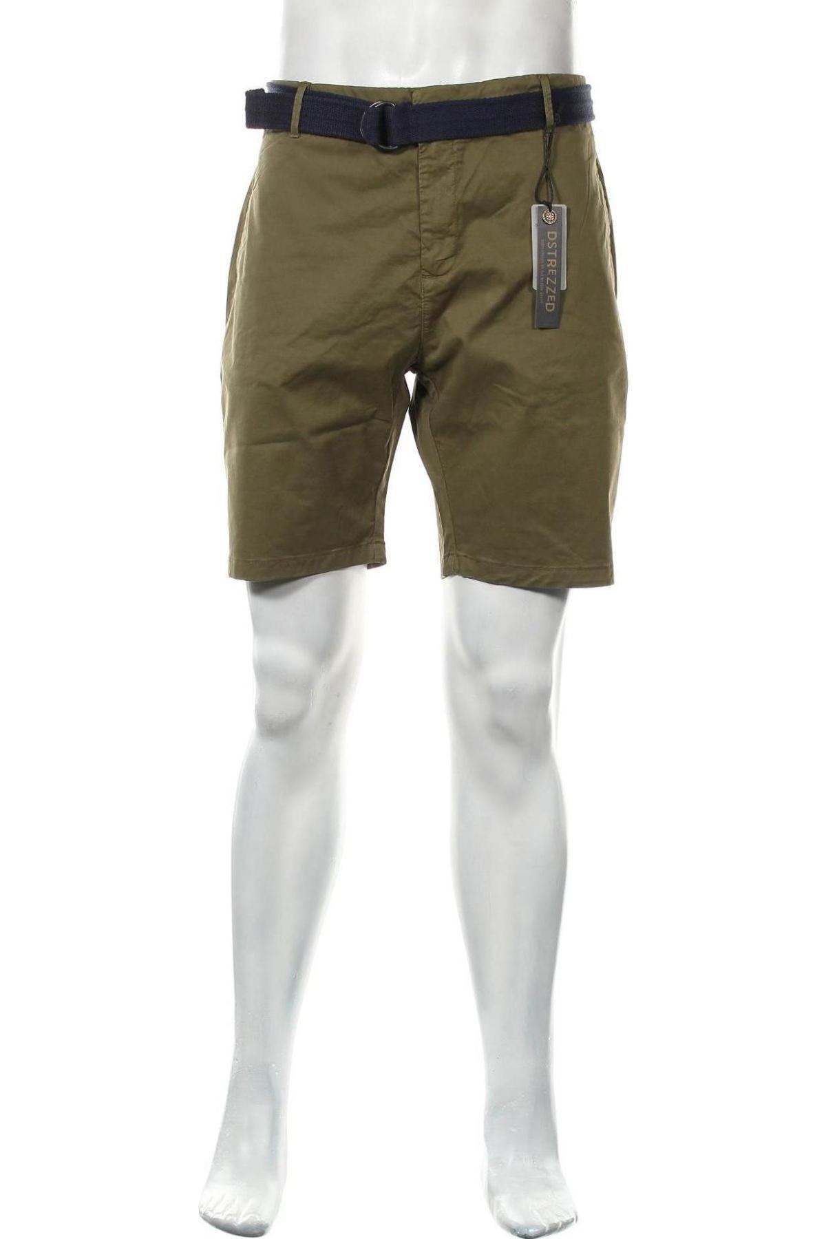 Мъжки къс панталон Dstrezzed, Размер XL, Цвят Зелен, 98% памук, 2% еластан, Цена 35,97лв.