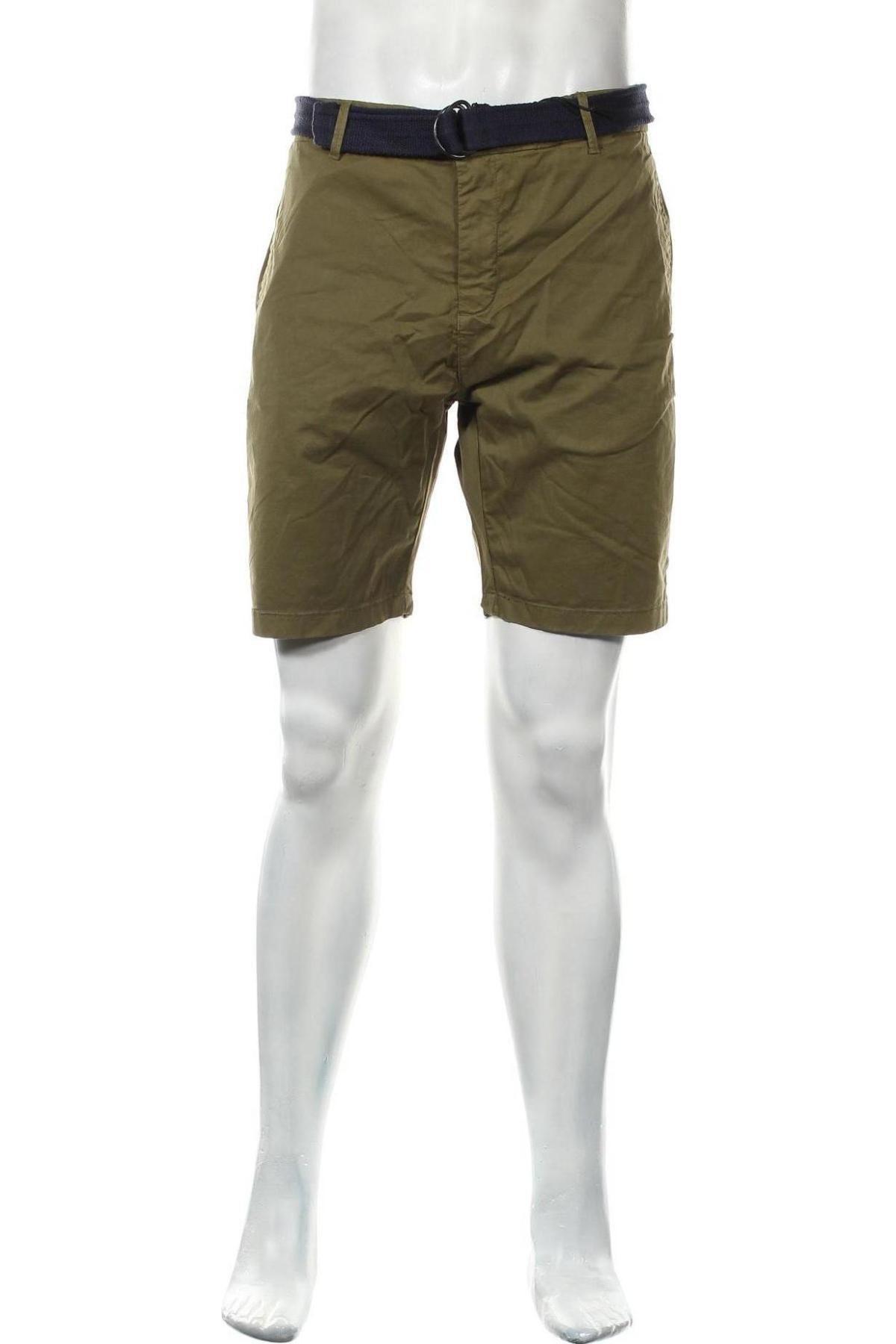 Мъжки къс панталон Dstrezzed, Размер L, Цвят Зелен, 98% памук, 2% еластан, Цена 35,97лв.