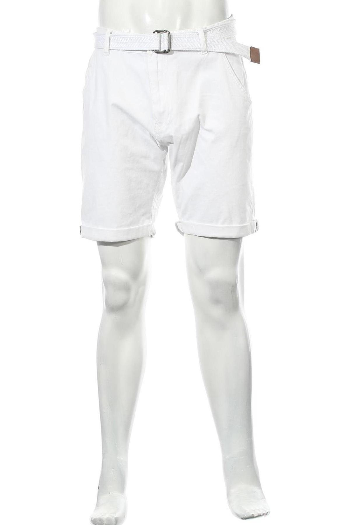 Мъжки къс панталон Indicode, Размер XL, Цвят Бял, 98% памук, 2% еластан, Цена 24,01лв.