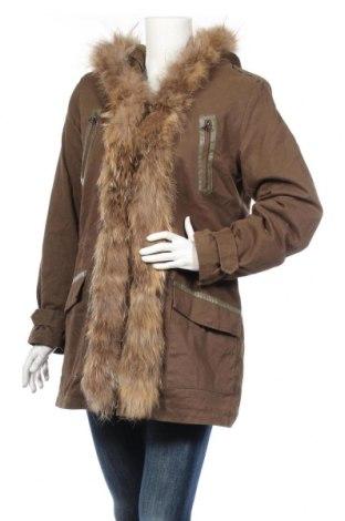 Дамско яке Frime, Размер XL, Цвят Зелен, Памук, естествен косъм, Цена 57,29лв.
