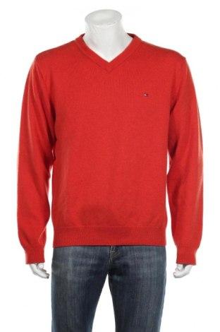 Męski sweter Tommy Hilfiger, Rozmiar XL, Kolor Pomarańczowy, Wełna, Cena 168,00zł