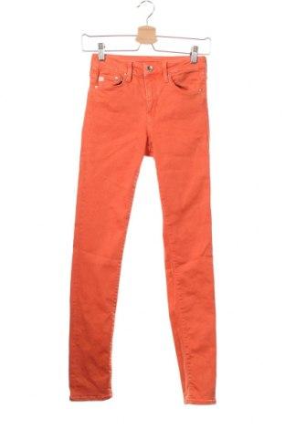 Дамски дънки H&M, Размер XS, Цвят Оранжев, 91% памук, 9% еластан, Цена 12,25лв.