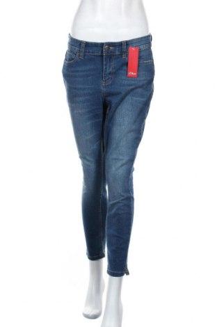 Дамски дънки S.Oliver, Размер M, Цвят Син, 76% памук, 16% полиестер, 7% вискоза, 1% еластан, Цена 29,37лв.