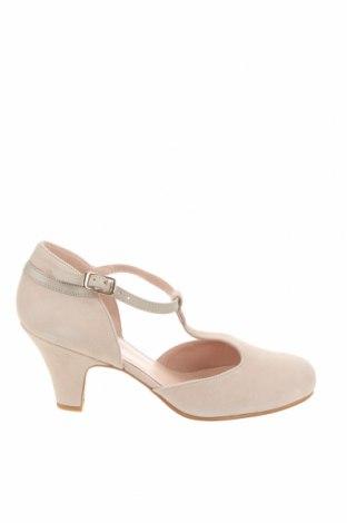 Дамски обувки Lab, Размер 38, Цвят Екрю, Естествен велур, Цена 41,65лв.