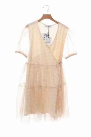 Детска рокля Zara, Размер 13-14y/ 164-168 см, Цвят Бежов, 100% полиестер, Цена 11,44лв.
