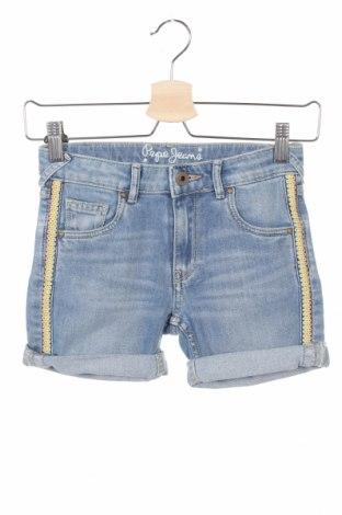 Pantaloni scurți pentru copii Pepe Jeans, Mărime 7-8y/ 128-134 cm, Culoare Albastru, 98% bumbac, 2% elastan, Preț 64,97 Lei