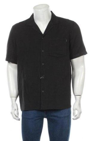 Мъжка риза Review, Размер L, Цвят Черен, 55% лен, 45% памук, Цена 39,00лв.
