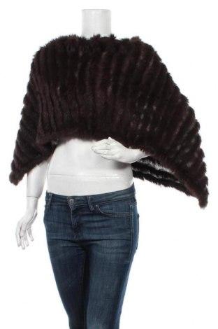 Пончо, Размер M, Цвят Кафяв, Естествен косъм, текстил, Цена 50,40лв.
