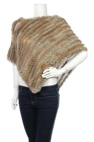 Пончо Soya Concept, Размер M, Цвят Бежов, Текстил, естествен косъм, Цена 19,64лв.