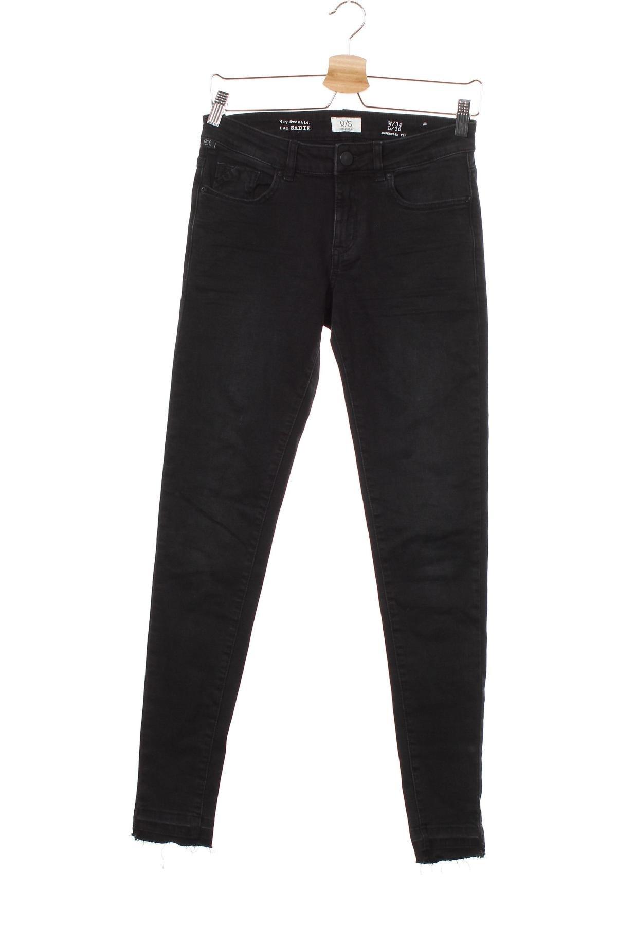 Дамски дънки Q/S by S.Oliver, Размер XS, Цвят Черен, 99% памук, 1% еластан, Цена 24,42лв.