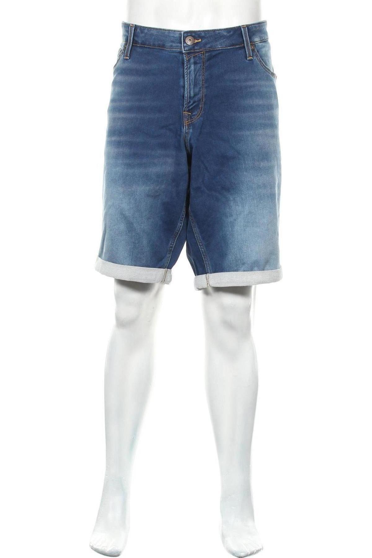 Мъжки къс панталон Jack & Jones, Размер 3XL, Цвят Син, 77% памук, 22% полиестер, 1% еластан, Цена 23,86лв.