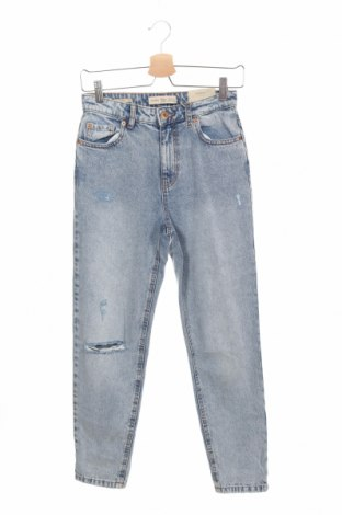 Damskie jeansy Bershka, Rozmiar XS, Kolor Niebieski, 100% bawełna, Cena 88,40zł