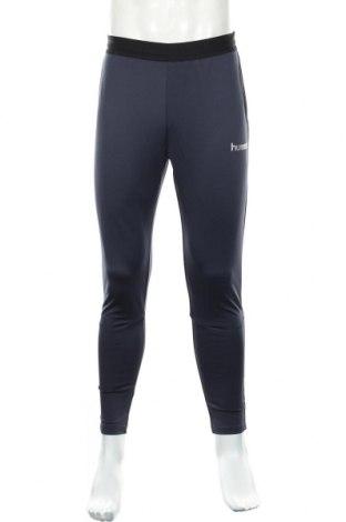Męskie legginsy sportowe Hummel, Rozmiar L, Kolor Niebieski, 90% poliester, 10% elastyna, Cena 74,25zł