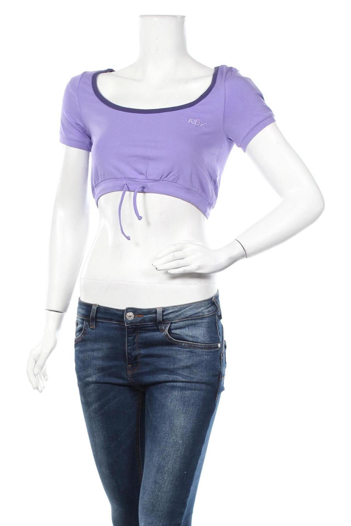 Дамска спортна блуза Reebok, Размер S, Цвят Лилав, 95% памук, 5% еластан, Цена 8,13лв.