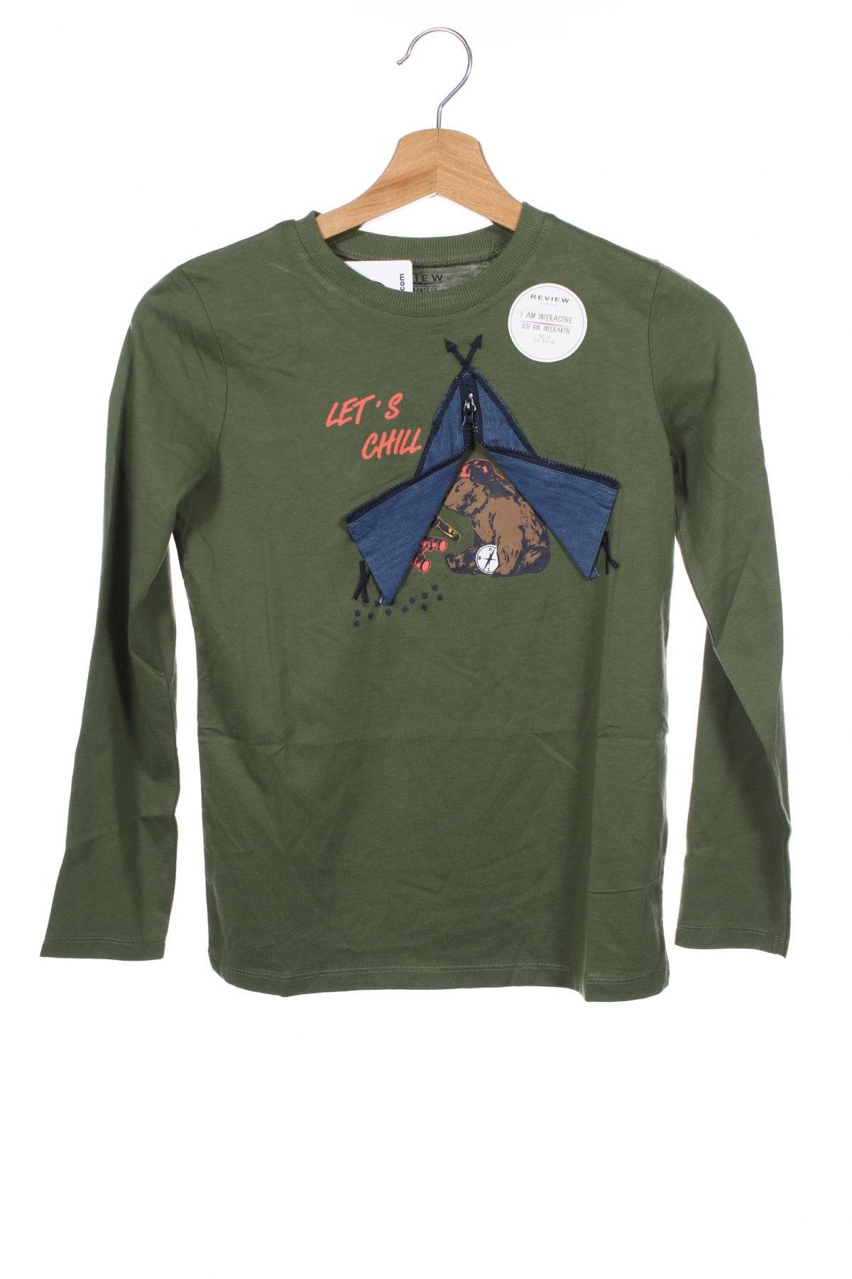 Детска блуза Review, Размер 9-10y/ 140-146 см, Цвят Зелен, Памук, Цена 25,50лв.