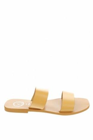 Чехли White Sun, Размер 38, Цвят Жълт, Естествена кожа, Цена 44,55лв.
