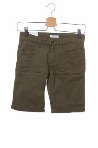 Pantaloni scurți pentru copii Name It, Mărime 11-12y/ 152-158 cm, Culoare Verde, 98% bumbac, 2% elastan, Preț 35,53 Lei