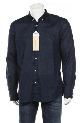 Мъжка риза Tom Tailor, Размер XL, Цвят Син, 55% лен, 45% памук, Цена 43,50лв.
