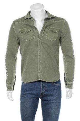 Мъжка риза Zara, Размер S, Цвят Зелен, Памук, Цена 25,52лв.