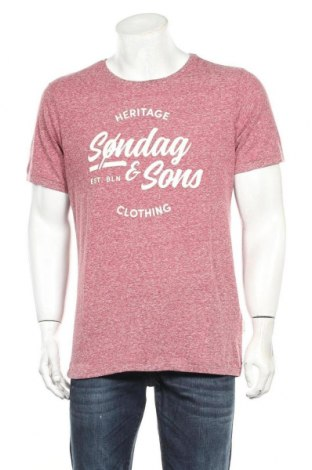 Мъжка тениска Sondag & Sons, Размер XL, Цвят Червен, 50% памук, 50% полиестер, Цена 13,05лв.