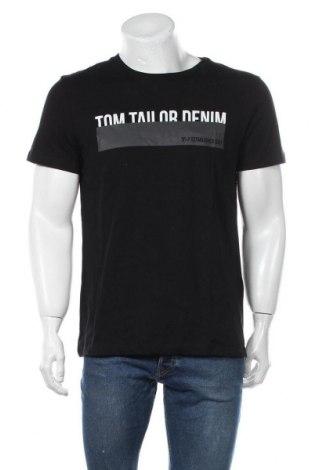 Мъжка тениска Tom Tailor, Размер L, Цвят Черен, Памук, Цена 10,50лв.