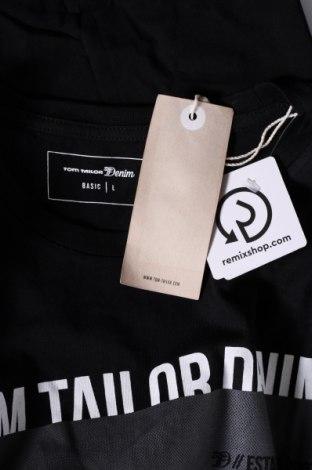 Мъжка тениска Tom Tailor, Размер L, Цвят Черен, Памук, Цена 31,50лв.