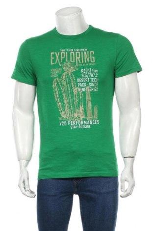 Мъжка тениска Tom Tailor, Размер M, Цвят Зелен, Памук, Цена 9,50лв.