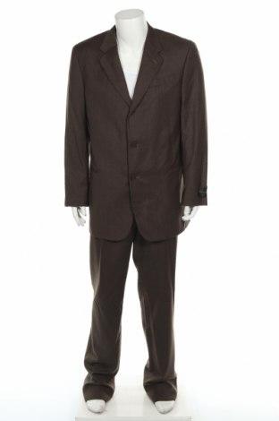 Męski garnitur Donna Karan, Rozmiar L, Kolor Brązowy, 100% wełna, Cena 319,20zł