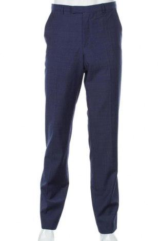 Мъжки панталон Hugo Boss, Размер M, Цвят Син, 74% вълна, 17% полиестер, 9% полиамид, Цена 128,82лв.