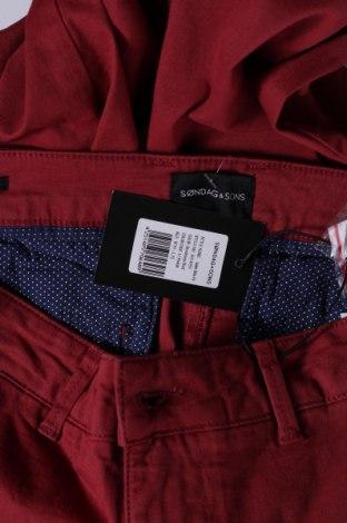 Мъжки панталон Sondag & Sons, Размер M, Цвят Червен, 97% памук, 3% еластан, Цена 24,35лв.