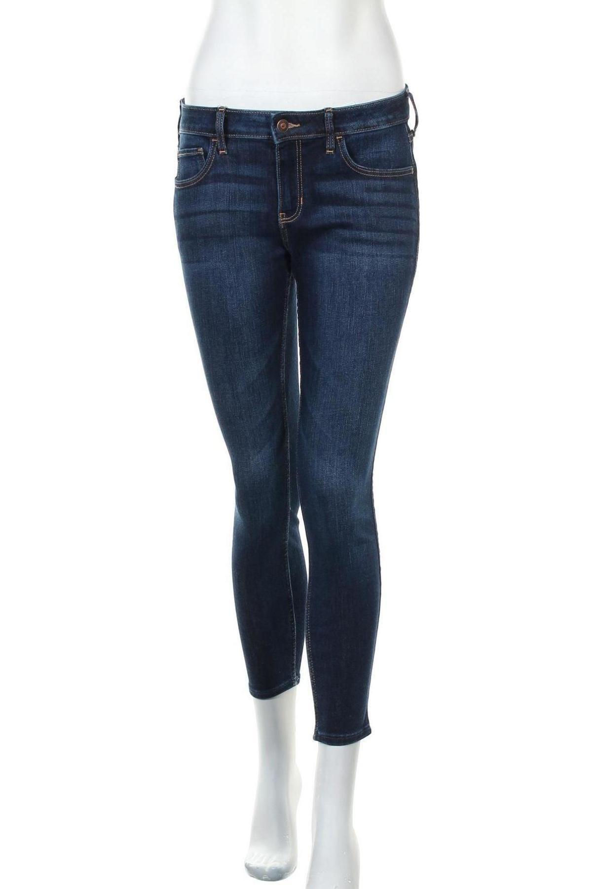 Дамски дънки Hollister, Размер L, Цвят Син, 77% памук, 12% полиестер, 9% вискоза, 2% еластан, Цена 51,75лв.