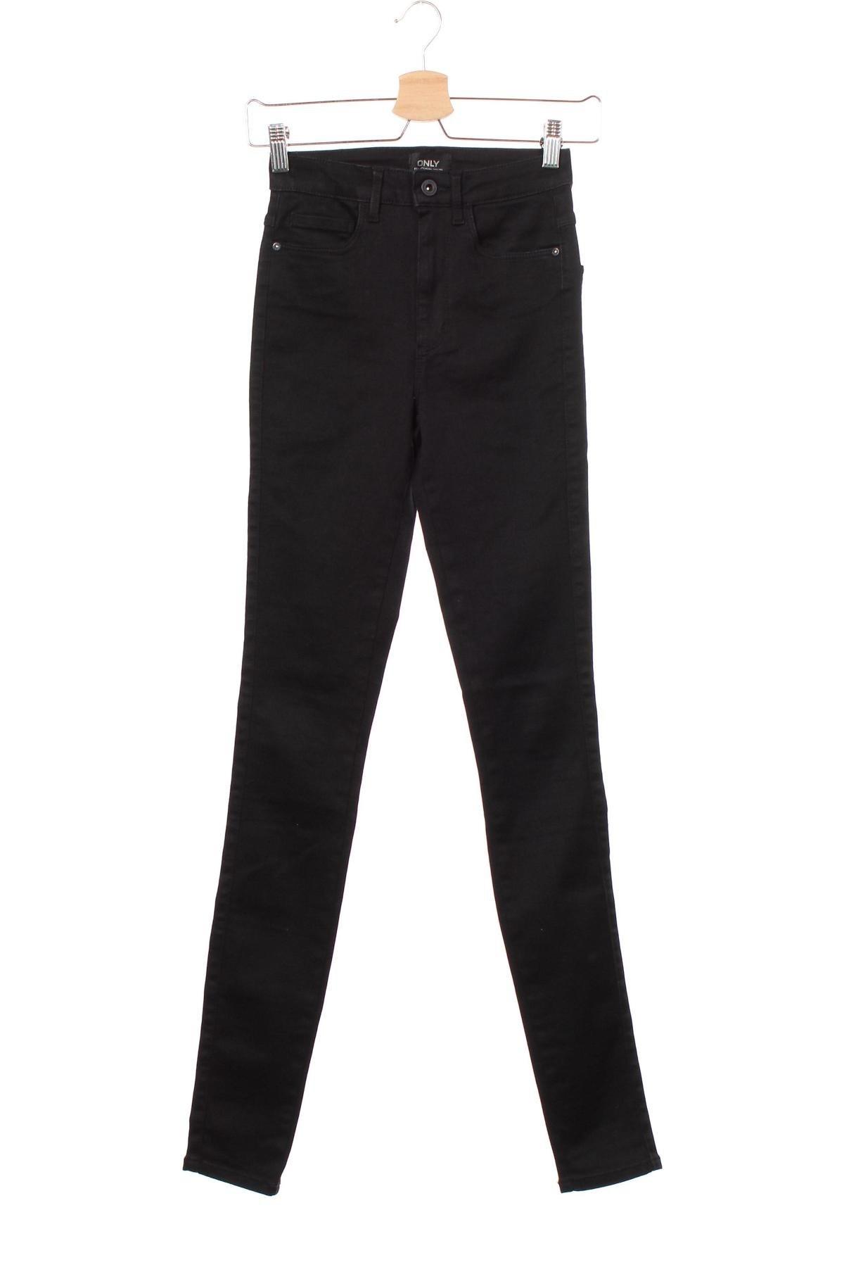 Дамски дънки ONLY, Размер XS, Цвят Черен, 29% полиестер, 2% еластан, 69% памук, Цена 26,88лв.