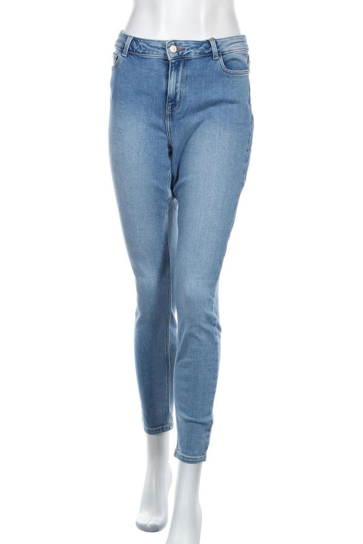 Дамски дънки Pieces, Размер L, Цвят Син, 98% памук, 2% еластан, Цена 27,56лв.