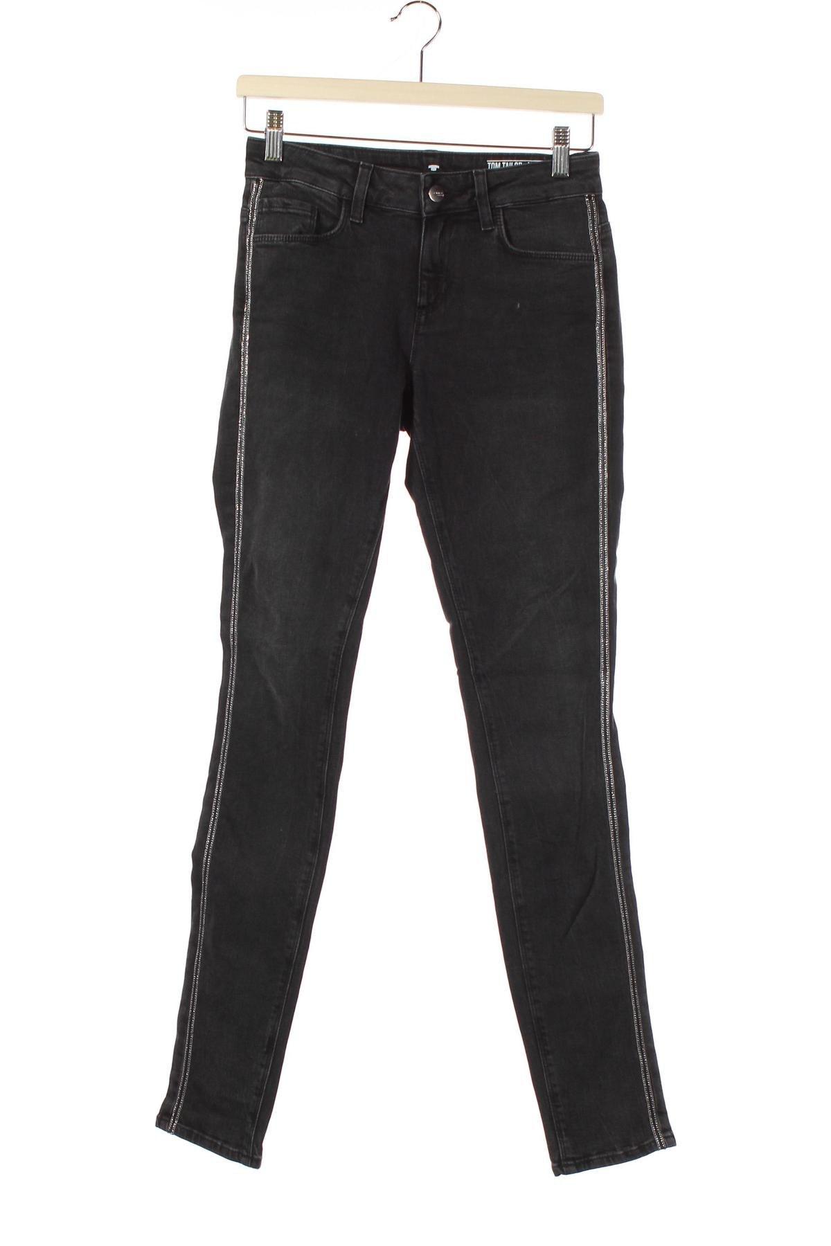Дамски дънки Tom Tailor, Размер XS, Цвят Черен, 98% памук, 2% еластан, Цена 25,20лв.
