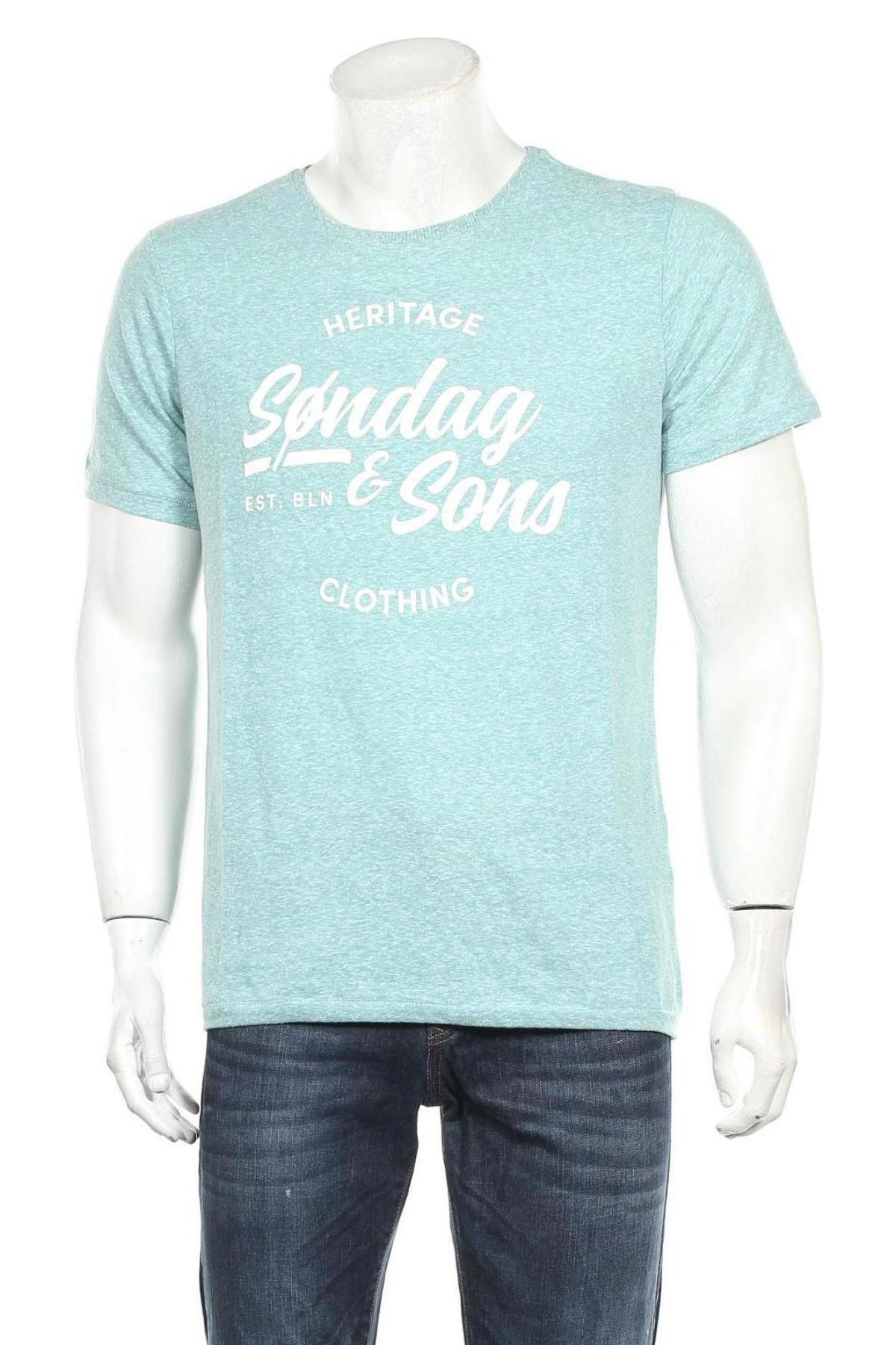 Мъжка тениска Sondag & Sons, Размер L, Цвят Зелен, 50% памук, 50% полиестер, Цена 13,05лв.