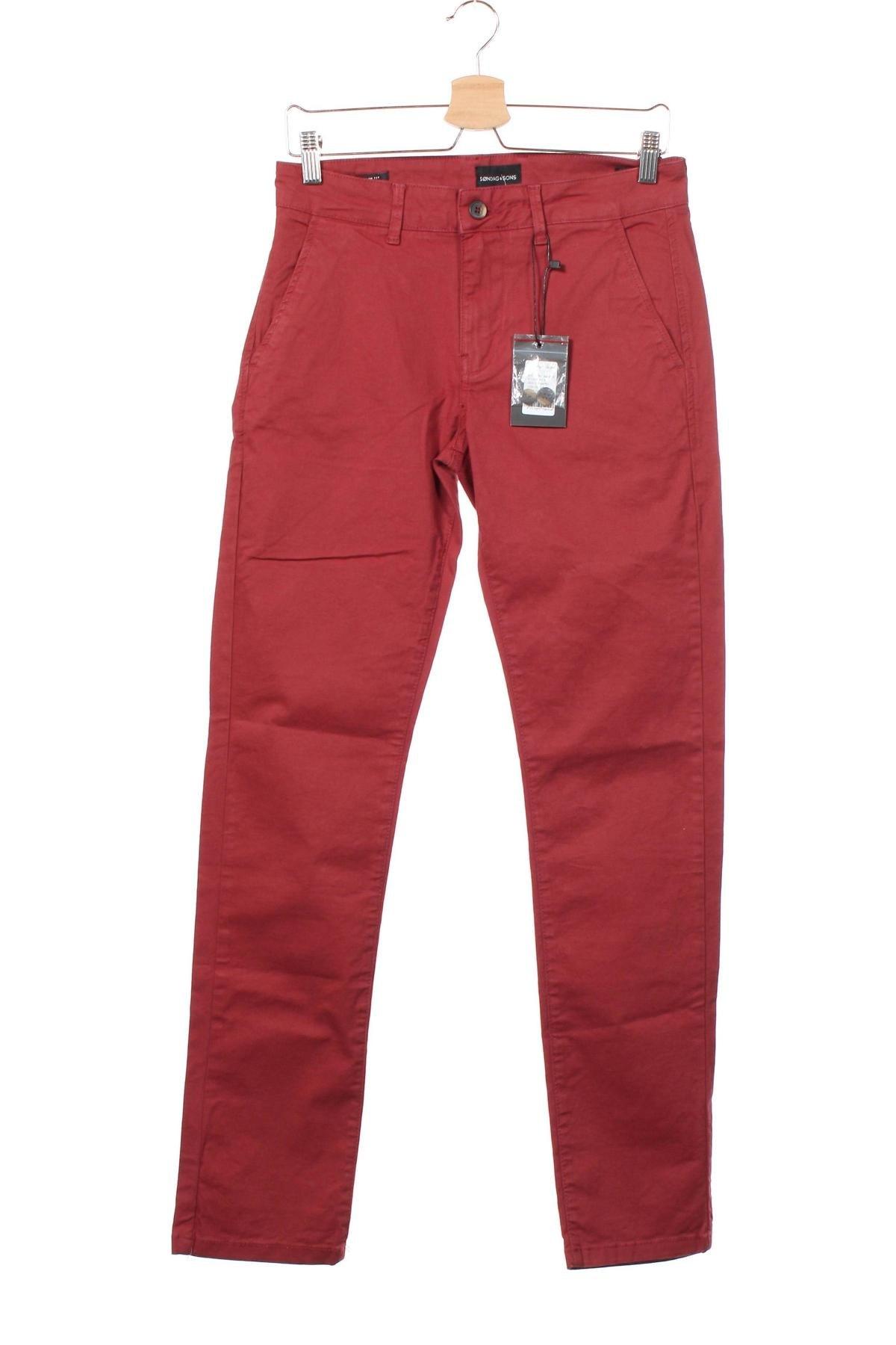 Мъжки панталон Sondag & Sons, Размер S, Цвят Червен, 97% памук, 3% еластан, Цена 22,35лв.
