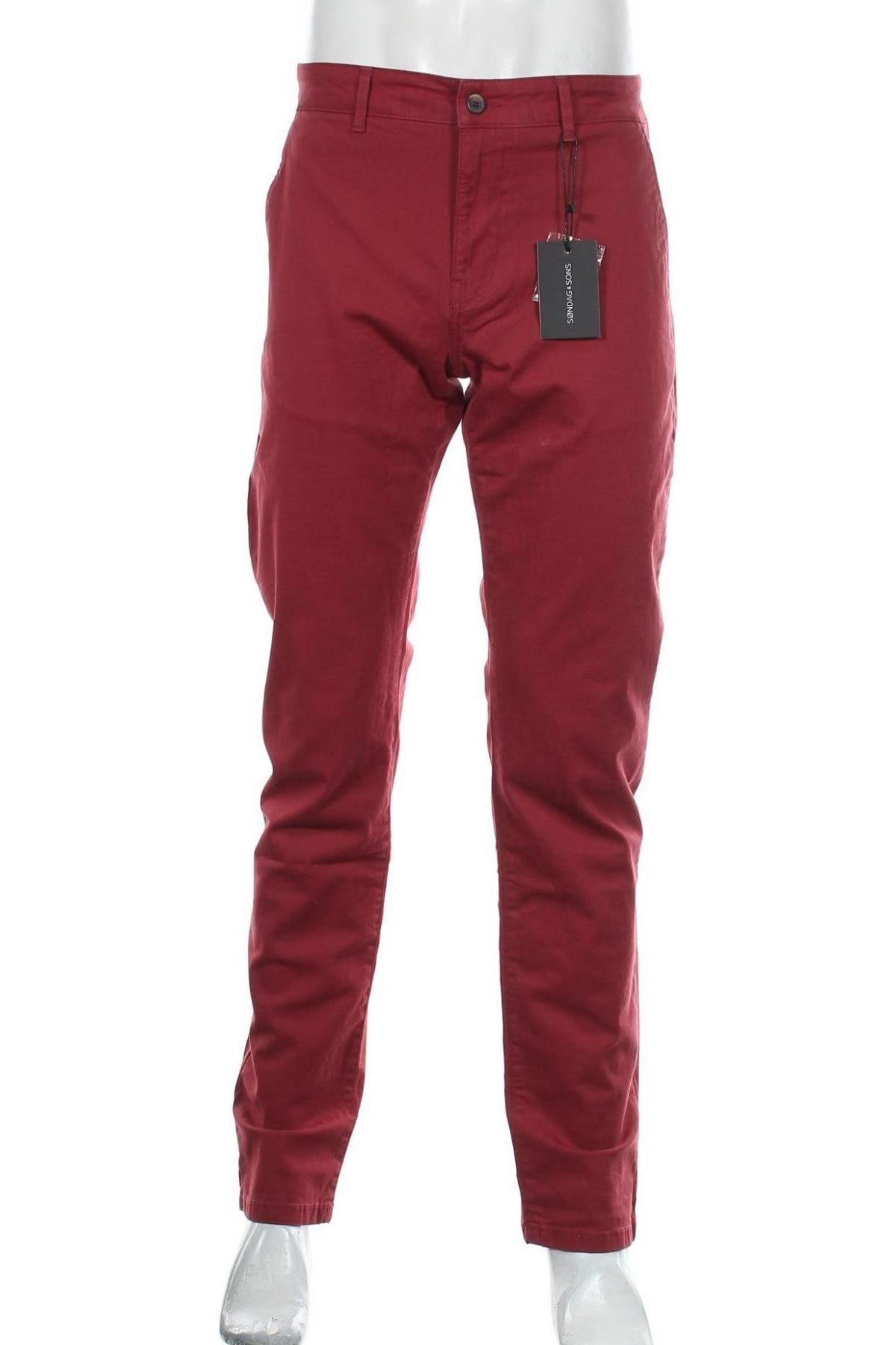 Мъжки панталон Sondag & Sons, Размер L, Цвят Червен, 97% памук, 3% еластан, Цена 22,35лв.