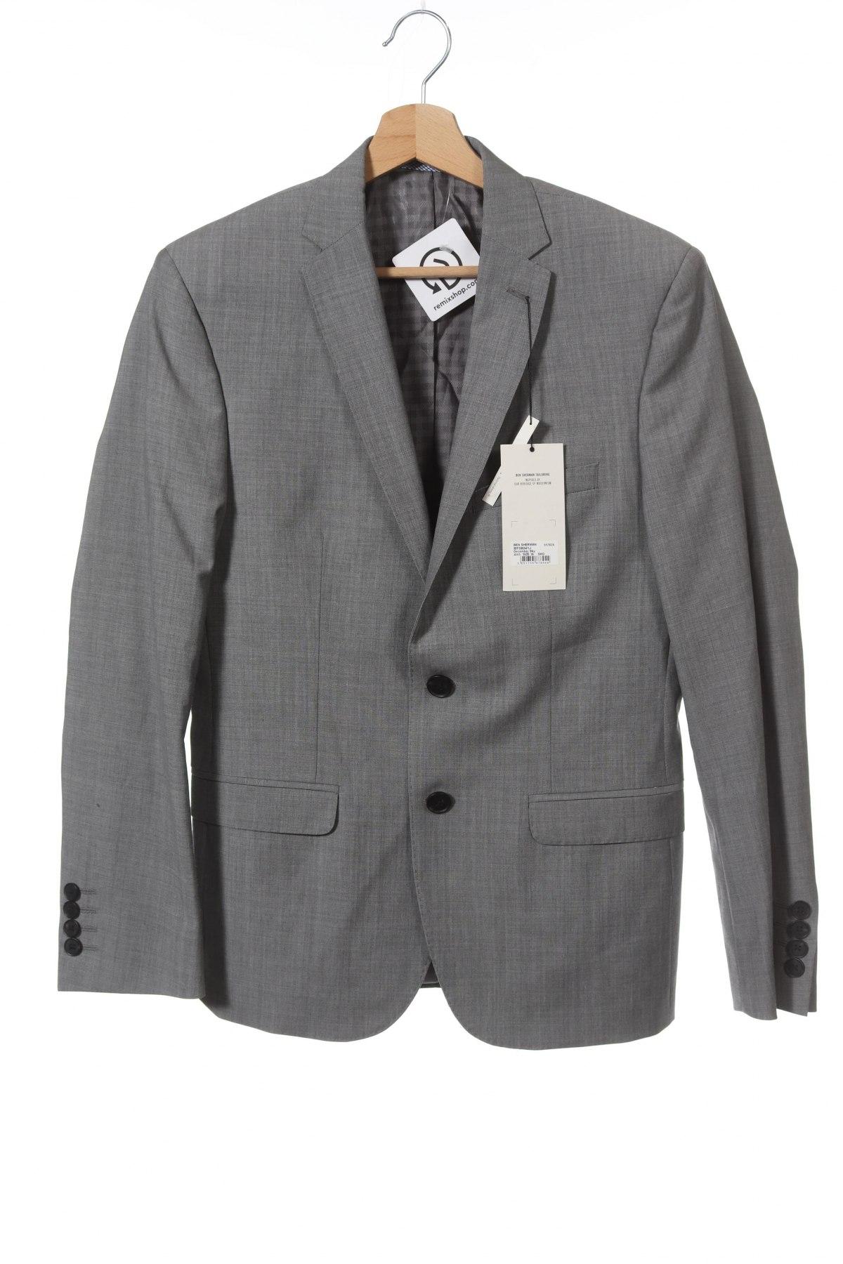 Мъжко сако Ben Sherman, Размер S, Цвят Сив, 95% вълна, 5% мохер, Цена 32,37лв.