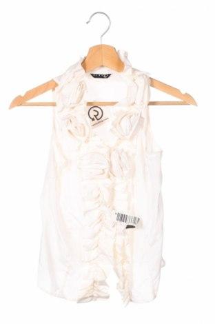 Детска риза Sisley, Размер 10-11y/ 146-152 см, Цвят Бял, 55% коприна, 45% памук, Цена 23,20лв.